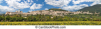 Assisi, Italy - Panorama of medieval town of Assisi, Umbria...