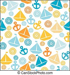 Cartoon seamless pattern with sail boats, anchors and stylized sun
