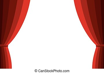 Red curtain opened on a white background. Simple flat vector...