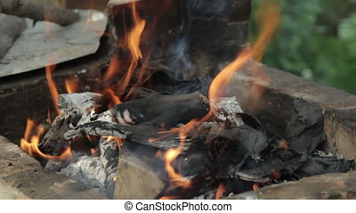 Burning wood in a brazier, HD