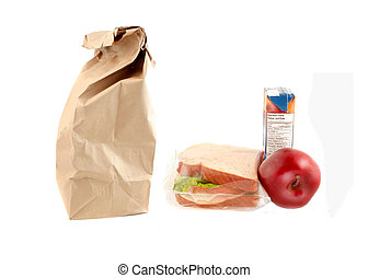 Healthy School lunch - Paper bag for school lunch with a...