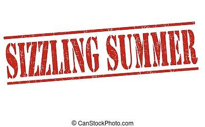 Sizzling summer stamp - Sizzling summer grunge rubber stamp...