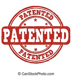Patented stamp - Patented grunge rubber stamp on white...