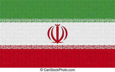 Flags Iran with abstract textures. Rasterized - Flags of...