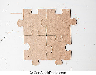Four  puzzle pieces close up