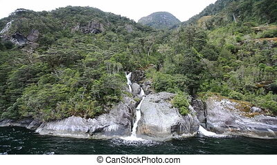 View on Milford Sound Fjord from boat, South Island, New...