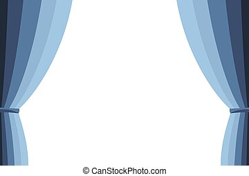 Blue curtain opened on a white background. Simple flat...