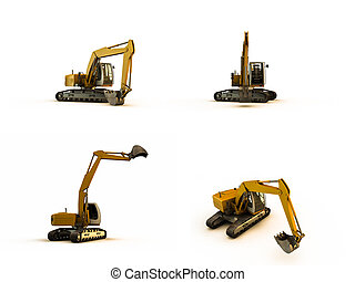 exavator - excavator in various poses isolated on white...