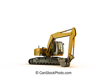 excavator isolated on white background