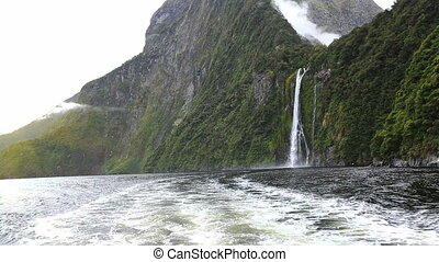 View on Milford Sound Fjord from the stern of the boat South...
