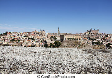 Toledo, Spain, panoramic view on city at sunny day