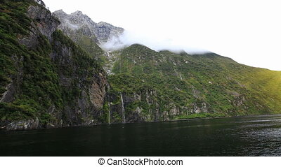 View on Milford Sound Fjord from boat. South Island, New...