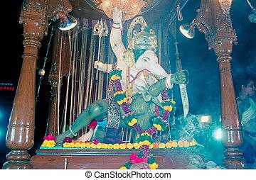 Idol of lord ganesh elephant headed god, Ganpati festival Pune , Maharashtra , India.