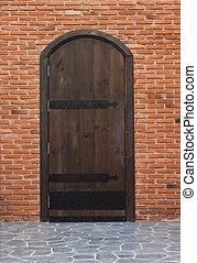 portões, antigas, madeira, paredes, tijolo, vermelho