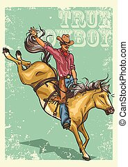 Rodeo Poster with sample text - Rodeo Cowboy riding a horse...