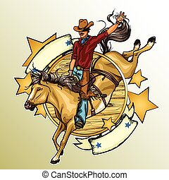 Rodeo Cowboy riding a horse, Label with ribbonn banner