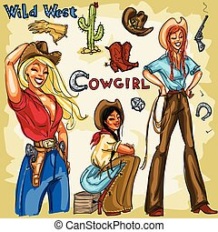 Cowgirls hand drawn collection.  Clip art Isolated