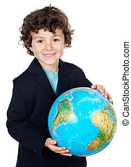 with a globe of the world - boy with a globe of the world...