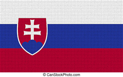 Flags Slovakia with abstract textures Rasterized - Flags of...