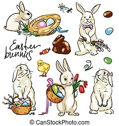 Easter Bunnies Collection. Hand drawn vector illustration