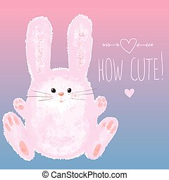 Greeting card with Cute Bunny and Hand writing, Happy Easter...