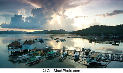 Sunset over Coron harbour timelapse, Coron, Palawan,...