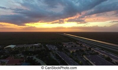 Us Highway aerial shoot. sunset