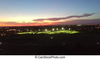 Aerial view of soccer fields. night