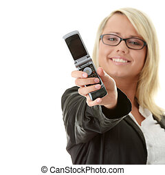 Attractive young business women with cellular phone isolated...