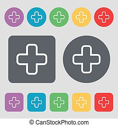 Plus icon sign. A set of 12 colored buttons. Flat design. Vector