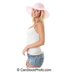 Young woman wearing a pink straw hat - Portrait of an...