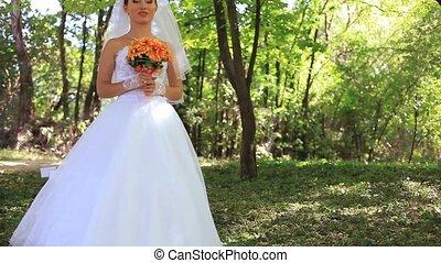 Bride In A Park - Bride walking  in a park