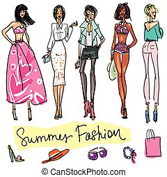 Summer Fashion hand drawn doodles Isolated on white