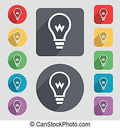 Light bulb icon sign A set of 12 colored buttons and a long...