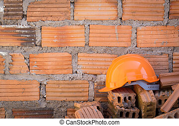鋼盔, 牆, 努力, 站點, 建設, 安全, 磚, 帽子
