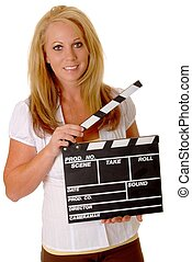 Blond Girl With Cinema Clapboard - Isolated lovely and sexy...
