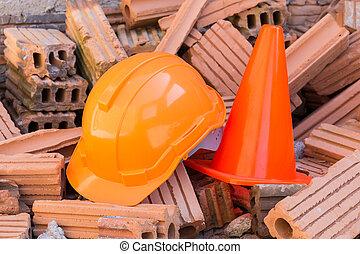 鋼盔, 努力, 站點, 建設, 安全, 圓錐, 帽子
