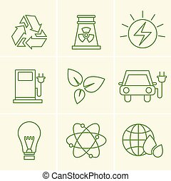 Ecology icons set vector green line style