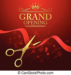Grand opening illustration with red ribbon and gold scissors...