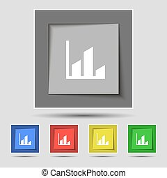 Chart icon sign on original five colored buttons. Vector