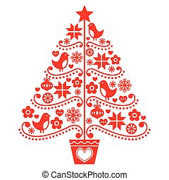 Christmas tree design - folk style - Retro style red Xmas...