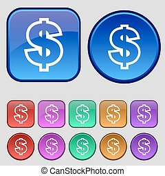 Dollar icon sign. A set of twelve vintage buttons for your design. Vector