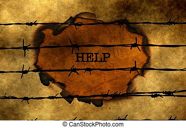 Help concept against barbwire