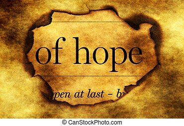 Hope text on grunge paper hole