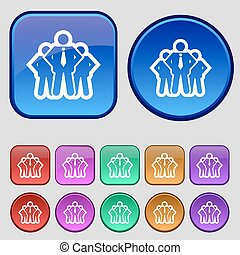 business team icon sign. A set of twelve vintage buttons for your design. Vector