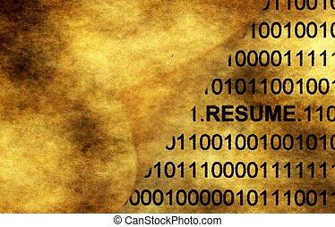 Resume concept on grunge background