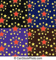 Seamless pattern with stars Set vector backgrounds