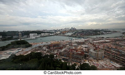 Singapore construction site - Panoramic view from Tiger Sky...