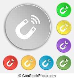 Magnet icon sign. Symbol on eight flat buttons. Vector...