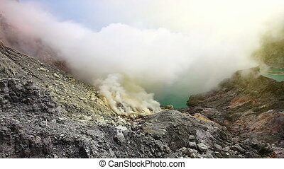 The Ijen crater - Panoramic view from the top of Ijen crater...